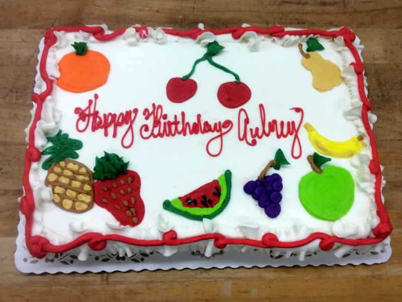 Sheet Cake with Piped Fruit