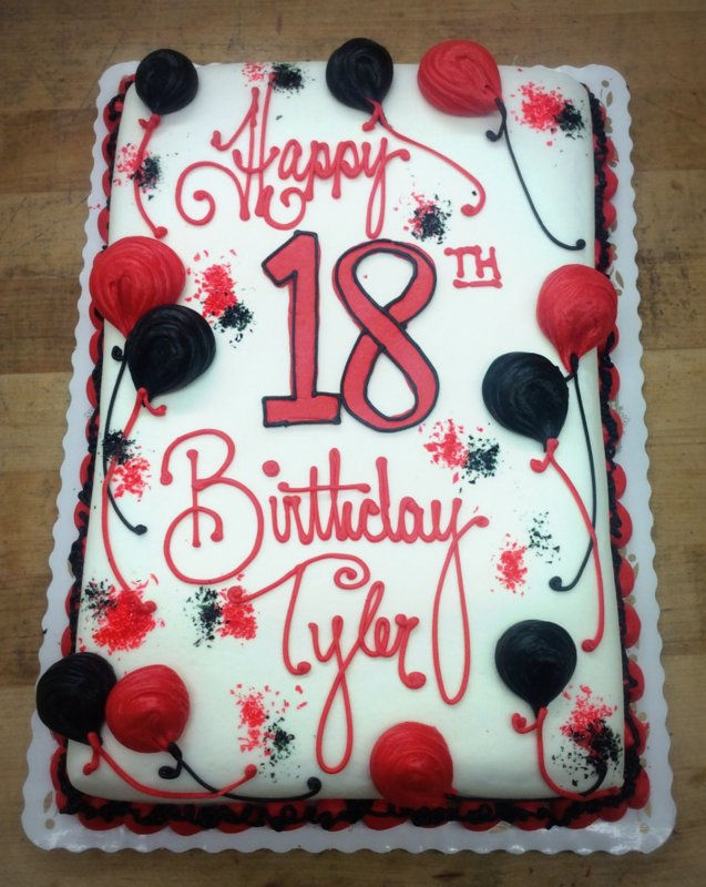 Sheet Cake with Red and Black Balloons