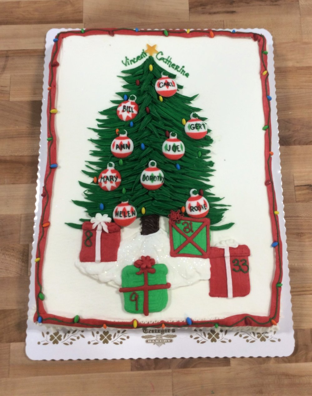 christmas tree sheet cake with custom ornaments  u2014 trefzger