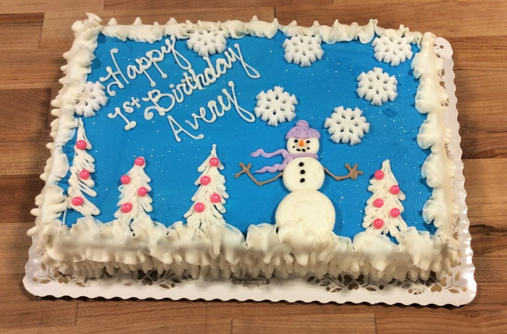 Sheet Cake with White Trees and Snowman