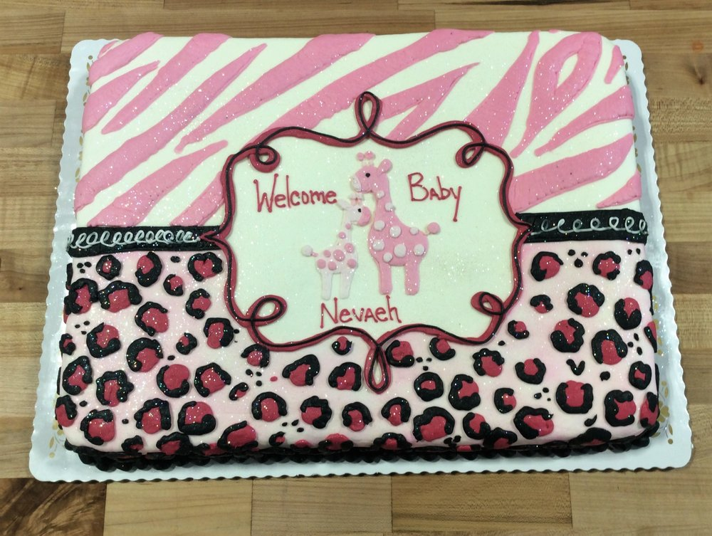 Pink Baby Shower Sheet Cake with Animal Print
