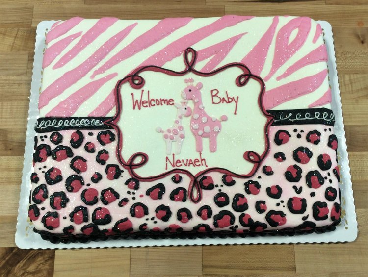 Pink Baby Shower Sheet Cake with Animal Print Trefzgers Bakery