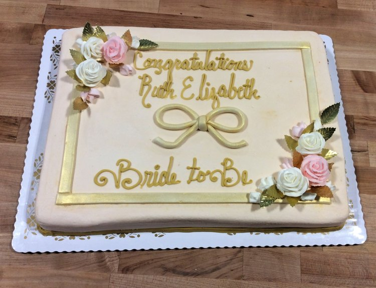 gold and blush bridal shower sheet cake