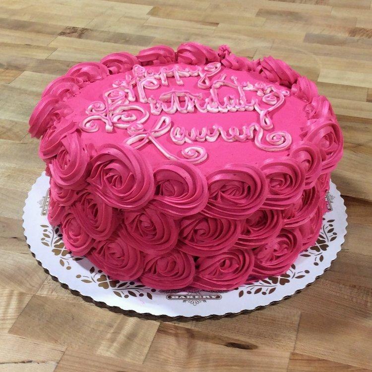 Pink Rosette Birthday Cake Trefzgers Bakery