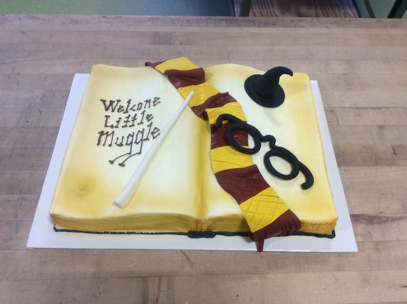 Awesome Harry Potter Baby Shower Book Shaped Cake