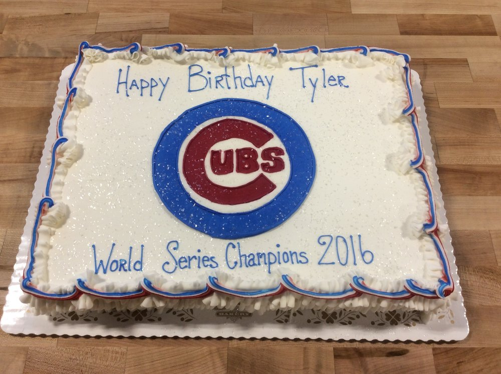 Sheet Cake with Piped Cubs Logo