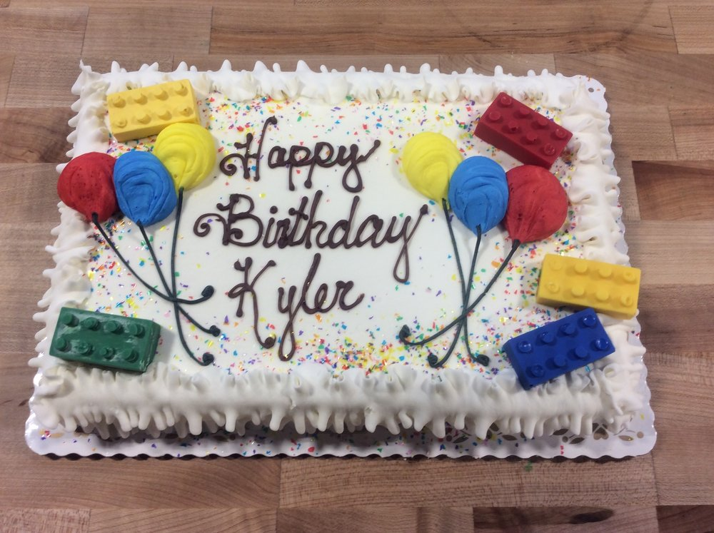 Sheet Cake with Balloons and Legos