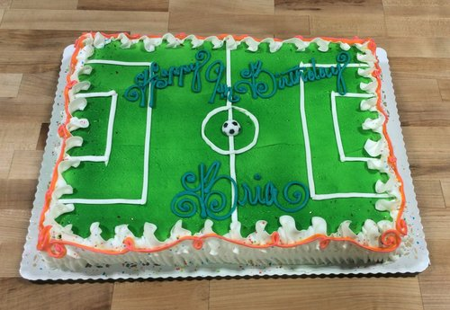 Sheet Cake with Sprayed Soccer Field