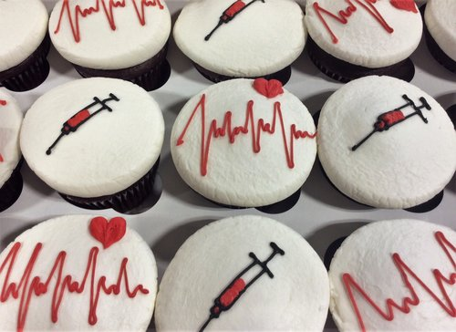 Cupcakes with Medical Decorations