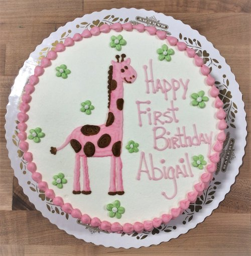Round Cake with Piped Pink Giraffe