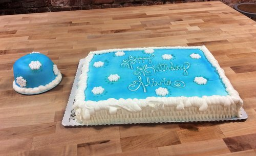 Winter Themed Sheet Cake and Smash Cake