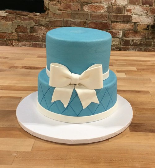 Blue Party Cake with White Bow