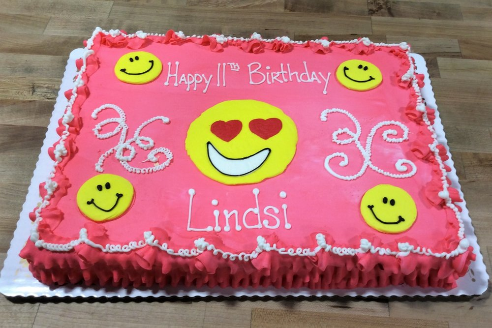 Pink Sheet Cake with Smilies