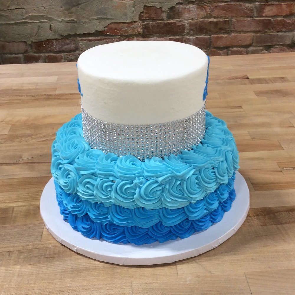 Blue Party Cake with Wide Bling Band