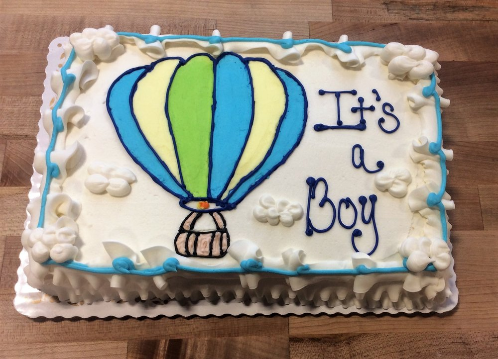 Sheet Cake With Piped Hot Air Balloon Trefzger S Bakery