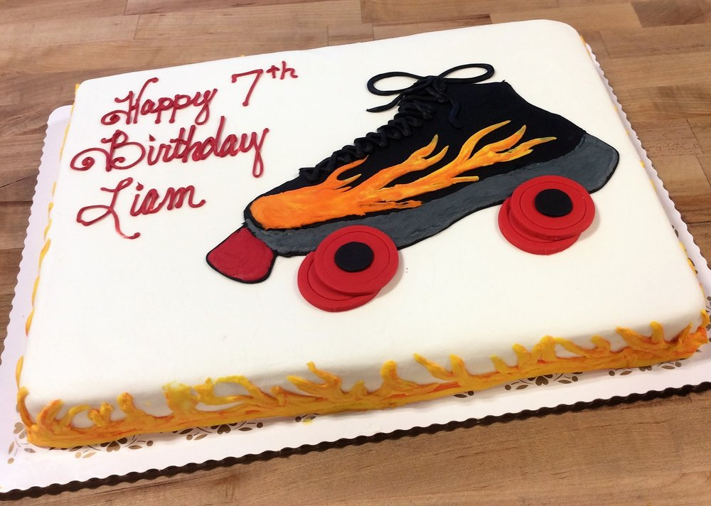 Roller Skate Sheet Cake with Flames