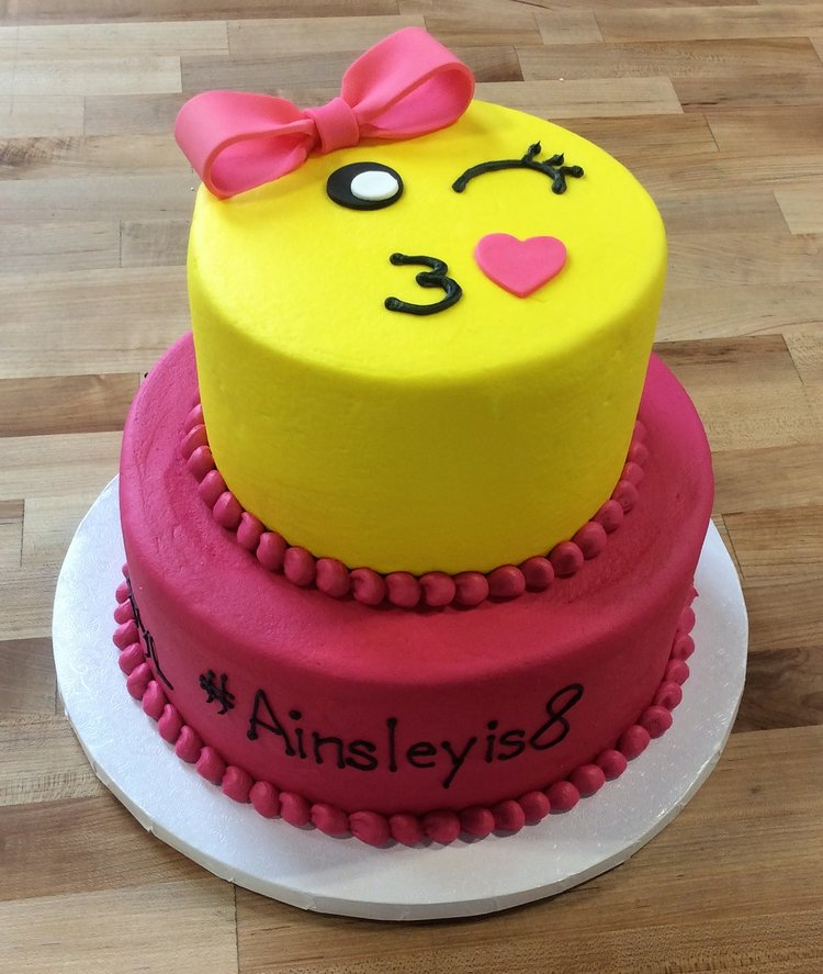 Pink And Yellow Emoji Party Cake