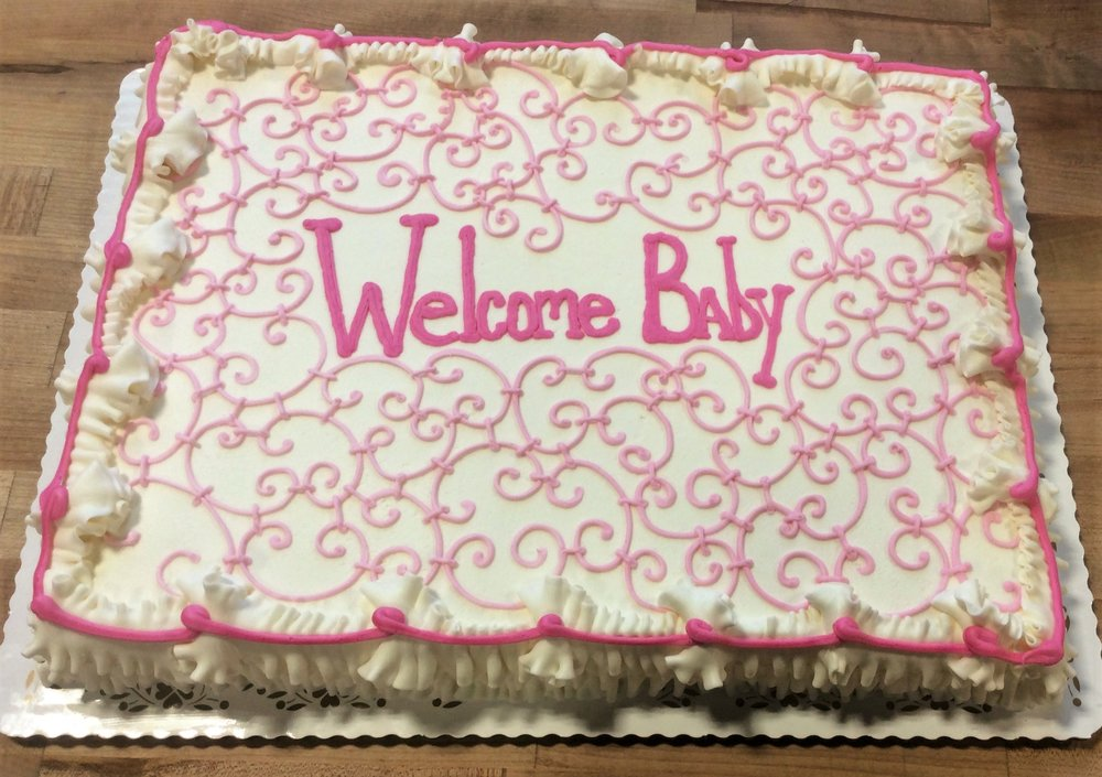 Baby Shower Cake with Pink Scrollwork
