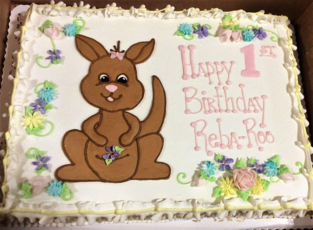 First Birthday Sheet Cake with Baby Kangaroo
