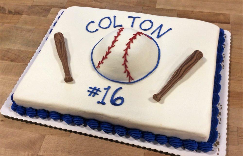 Sheet Cake with 3D Baseball and Bats