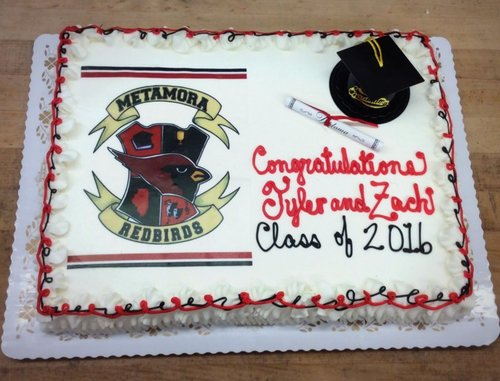 Graduation Sheet Cake With School Logo Photoscan