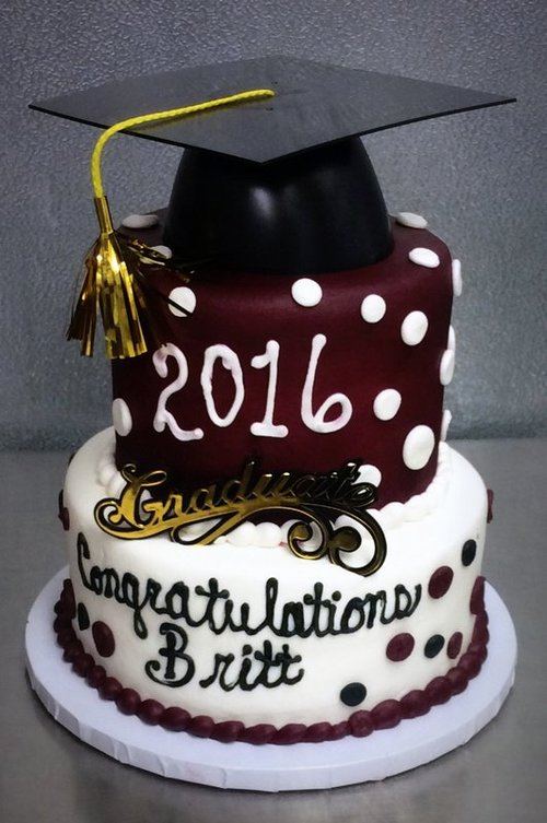 Graduation Party Cake With Polka Dots Trefzger S Bakery
