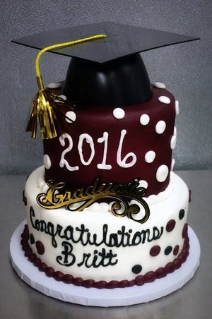 Graduation Party Cake With Polka Dots