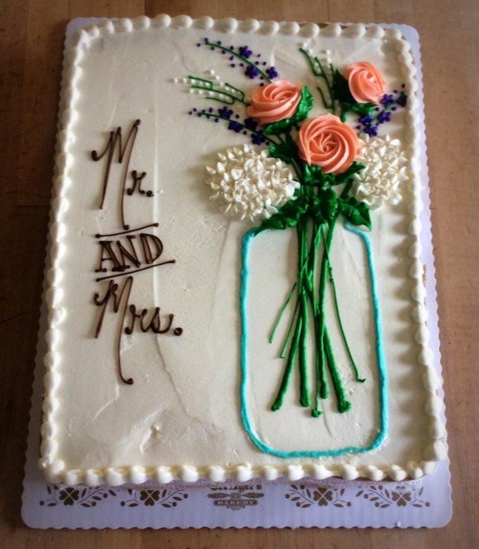 Bridal Shower Sheet Cake With Mason Jar Bouquet Trefzger S Bakery
