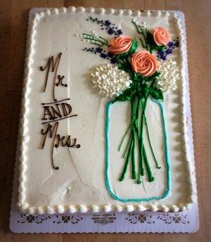 Bridal Shower Sheet Cake With Mason Jar Bouquet