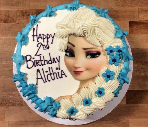 Round Cake With Elsa Face Buttercream Hair Trefzger S Bakery