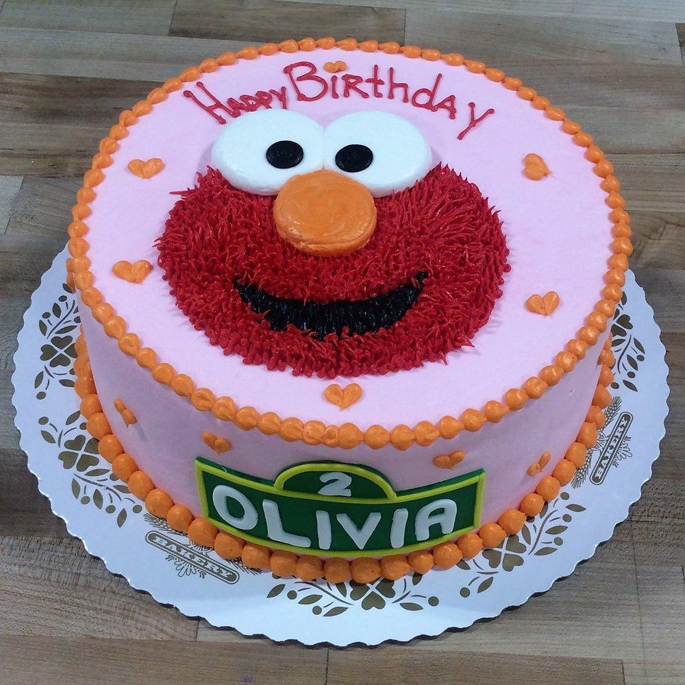 Pink and Orange Elmo Face Cake