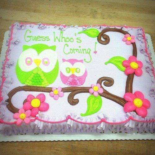 Sheet Cake With Owls Trefzgers Bakery