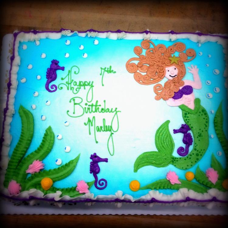 Mermaid And Seahorse Decorated Sheet Cake Trefzger S Bakery