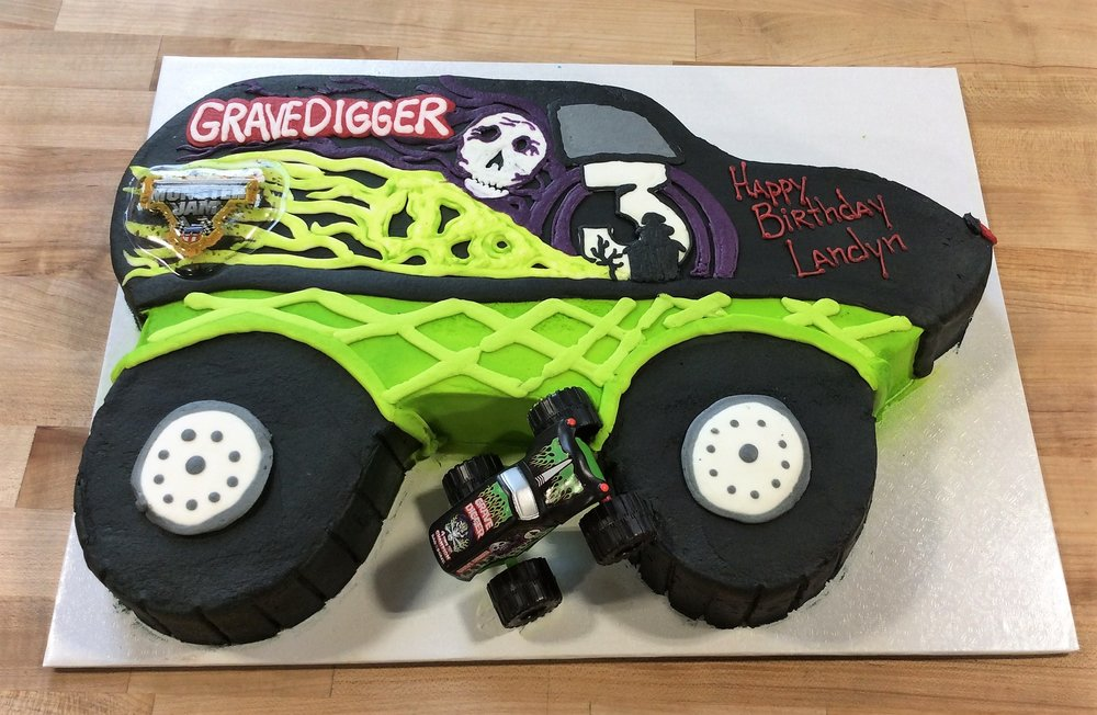 Wondrous Grave Digger Monster Truck Shaped Cake Trefzgers Bakery Funny Birthday Cards Online Alyptdamsfinfo
