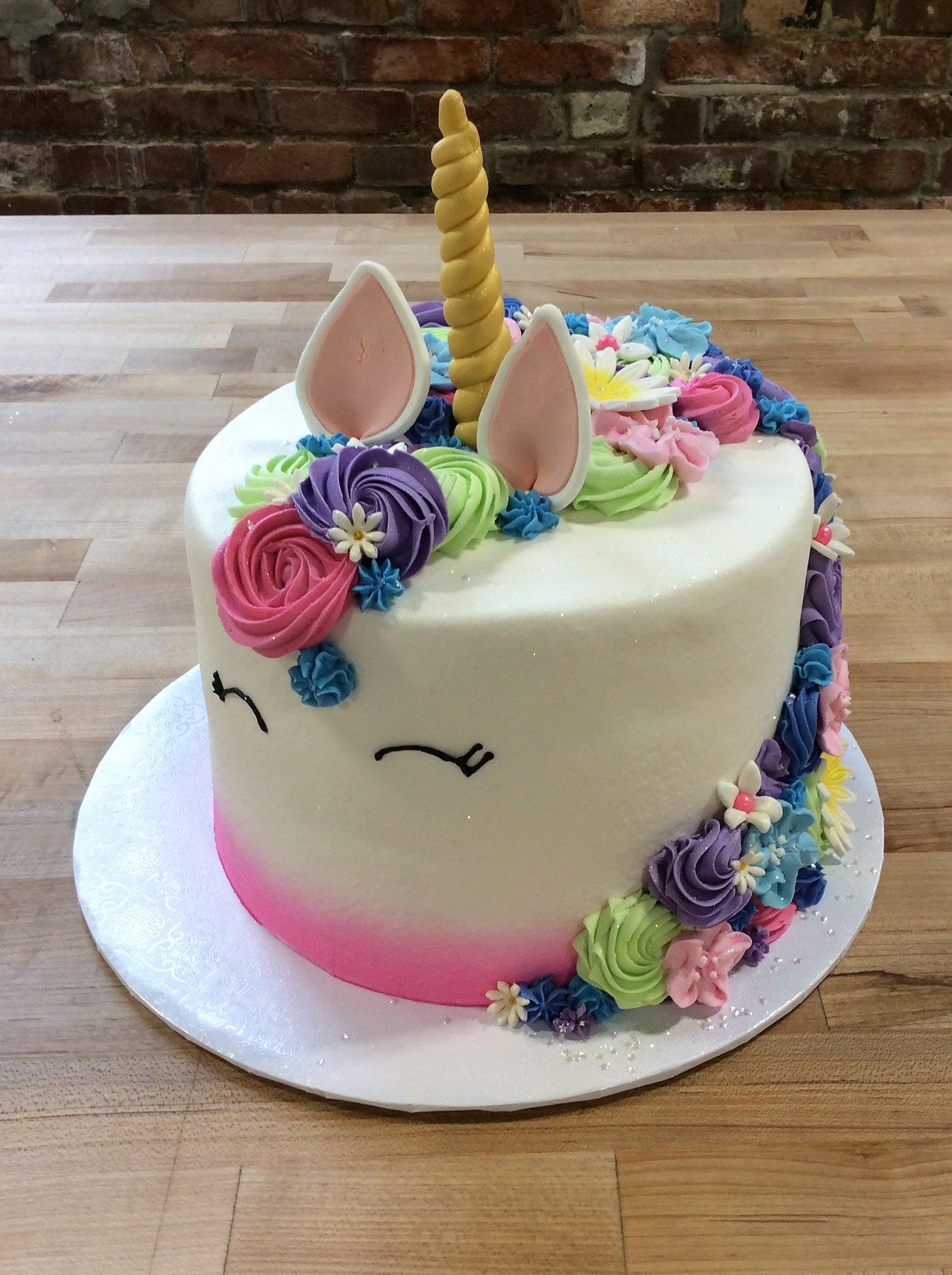 Unicorn Cake With Fancy Flower Mane Trefzger S Bakery