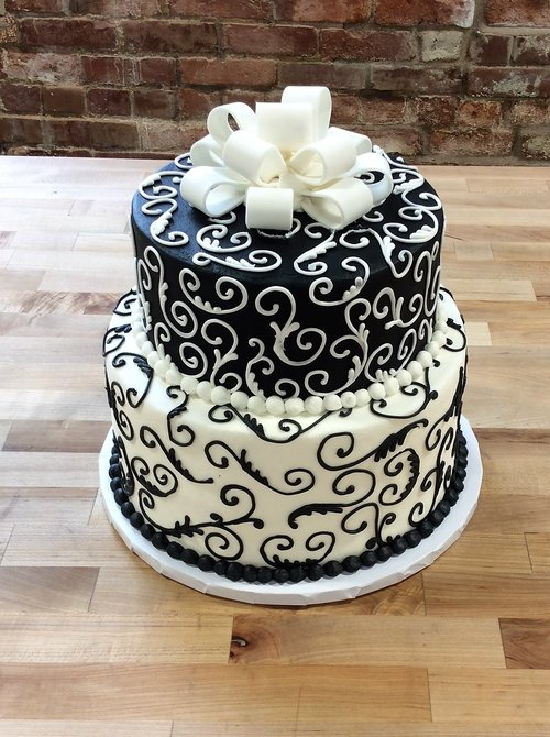 Black And White Party Cake With Multiple Loop Bow