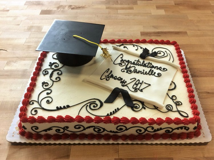 Graduation Sheet Cake With Edible Cap And Diploma