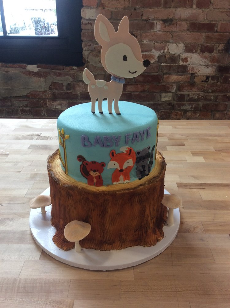 Baby Shower Party Cake With Woodland Animals Trefzgers Bakery