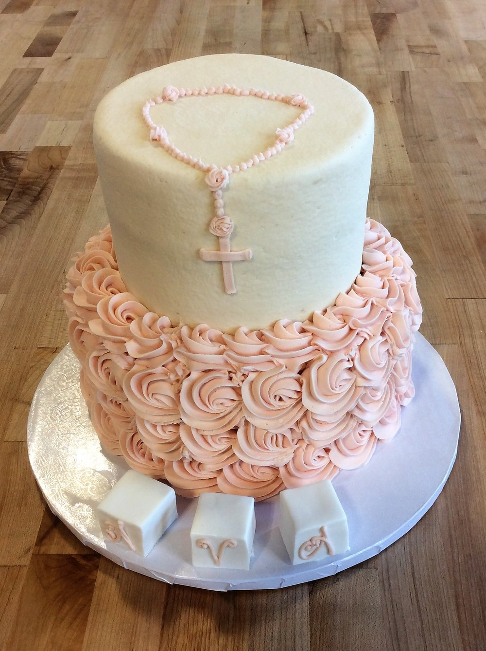 Pink Party Cake with Rosary