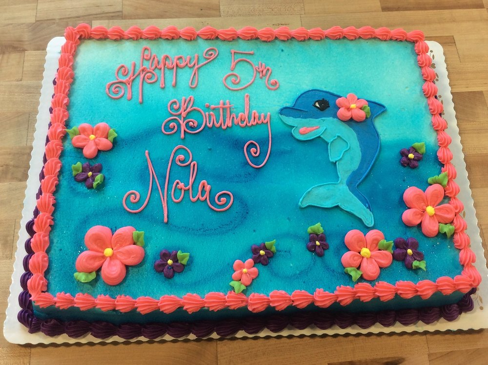 Sheet Cake With Dolphin And Daisies Trefzgers Bakery