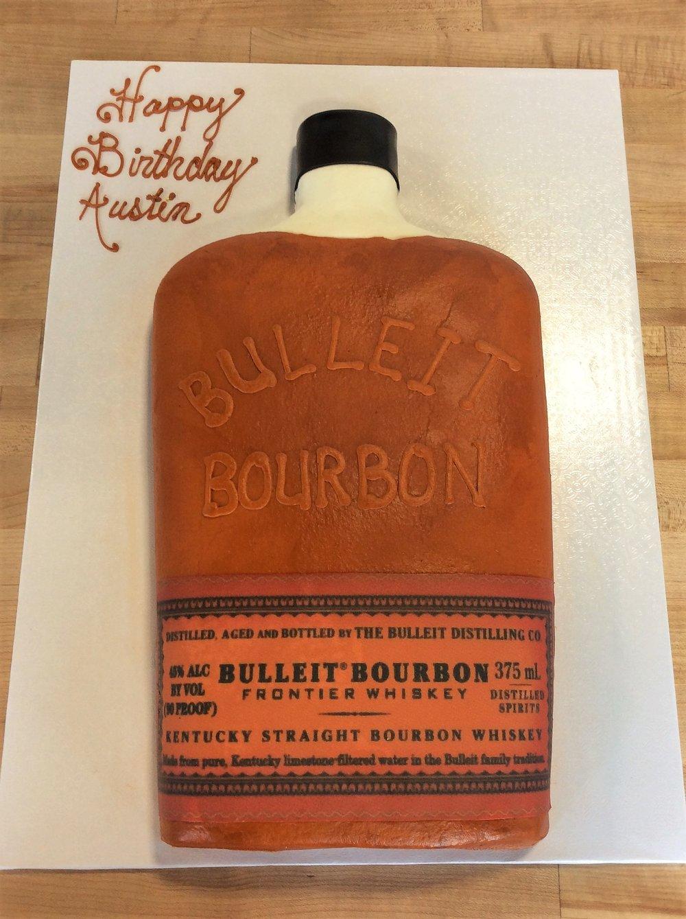 Bulleit Bourbon Bottle Shaped Cake