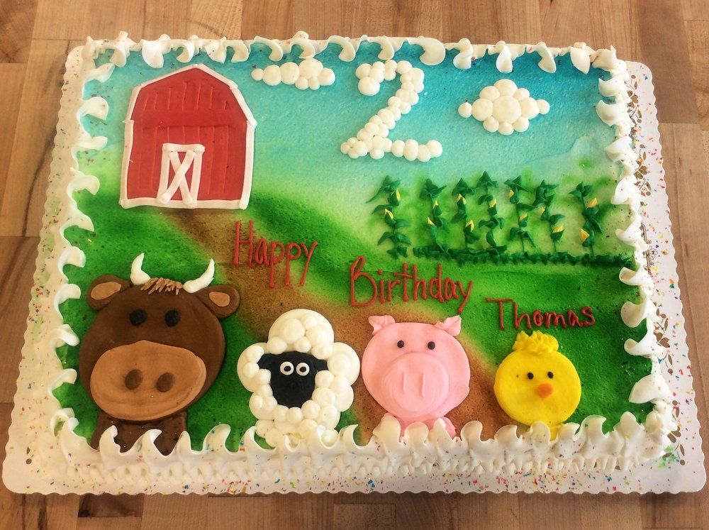 Sheet Cake with Barn and Farm Animals
