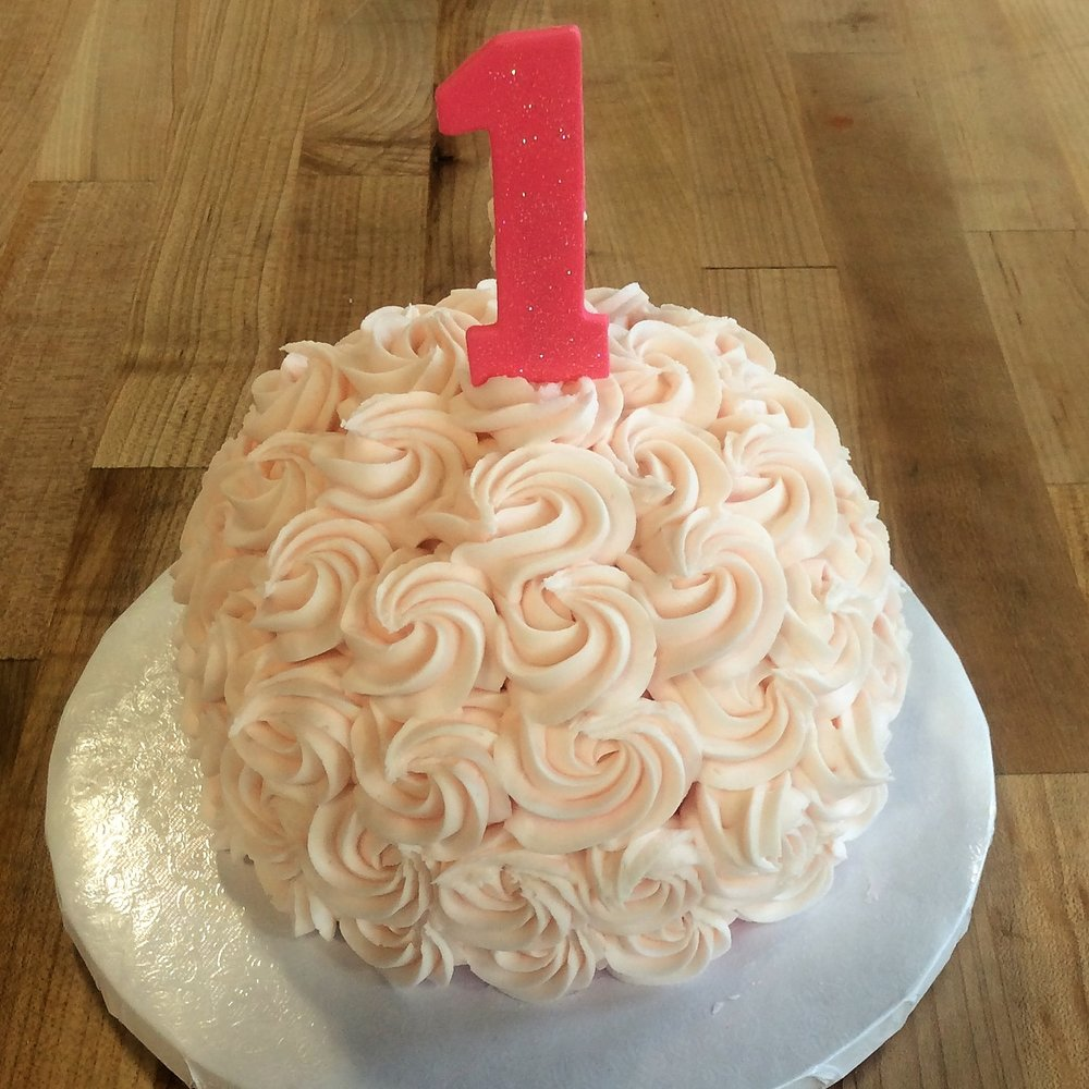 Rosette Smash Cake with Stand-Up Number 1