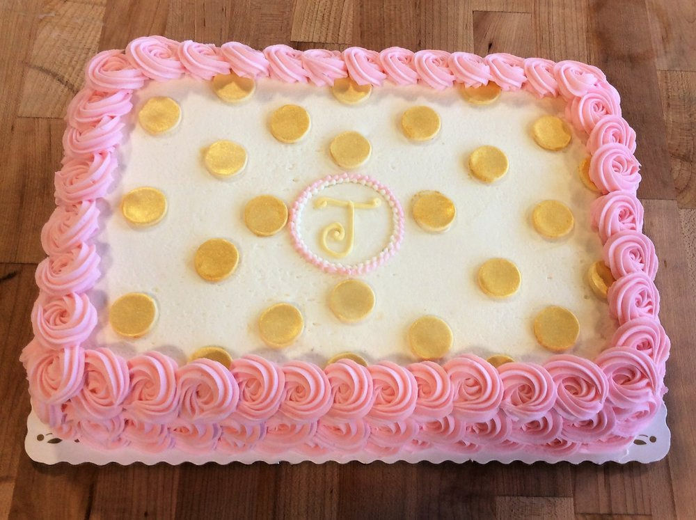 Sheet Cake with Rosettes and Gold Polka Dots