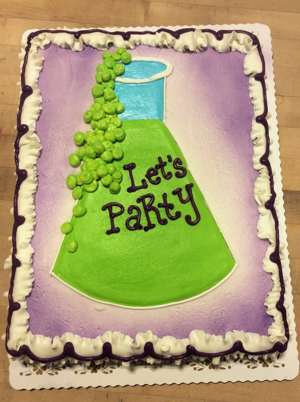 Science Party Sheet Cake with Laboratory Flask