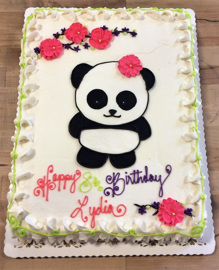 Sheet Cake With Piped Panda Decoration Trefzger S Bakery