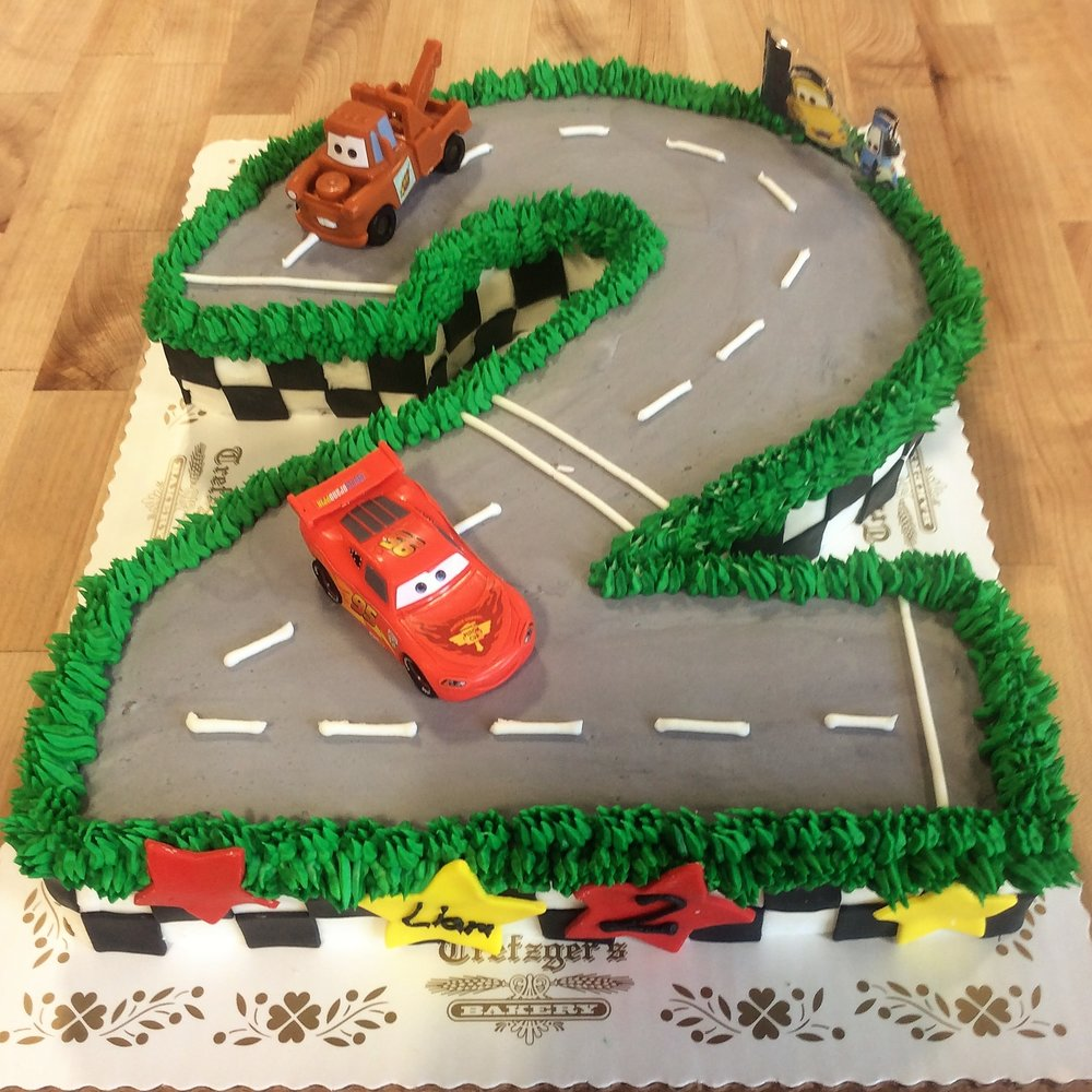 Number Shaped Cars the Movie Cake