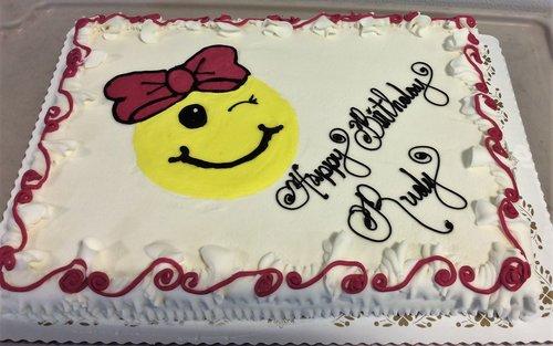 Sheet Cake With Piped Emoji
