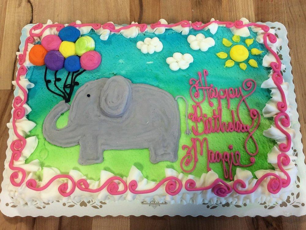 Elephant with Balloons Sheet Cake Trefzgers Bakery