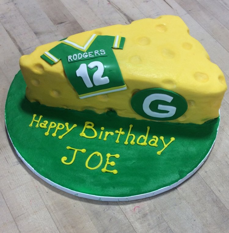 Green Bay Packers Cheese Shaped Cake Trefzgers Bakery